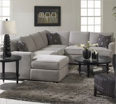 The perfect living room sofa! The Loomis Sectional Sofa with a Chaise Lounge by Klaussner will easily provide your family room with comfort and style. (I want to recreate this look with recycled pallets. Sectional Sofa With Chaise, Living Room Sectional, Living Room Grey, Living Room Furniture, Home Furniture, Living Room Decor, Chaise Lounges, Small Sectional, Furniture Showroom