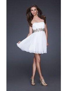 A-Line Sweetheart White Chiffon Homecoming Dress Coming01458