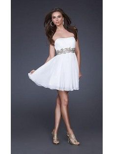 A-Line Sweetheart White Chiffon Homecoming Dress Coming01458