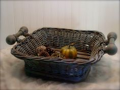 Wood Slatted Basket - Provence Chalk Paint - Dark Wax - Fall Beauty