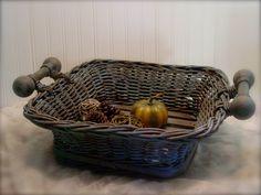 Wood Slatted Basket - Provence Chalk Paint - Dark Wax - Fall Beauty