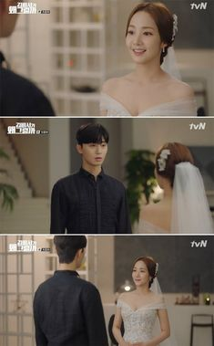 On the last episode of the tvN drama 'What's Wrong With Secretary Kim', Kim Mi-so (Park Min-young) visited Lee Young-joon's (Park Seo-joon) house in a wedding dress. Park Min Young, Korean Actresses, Korean Actors, Korean Dramas, Korean Idols, Kdrama, Lee Tae Hwan, Joon Hyung, Two Worlds