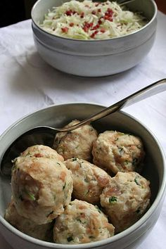 Use up your old bread with this German Bread Dumpling recipe. Add some onions…
