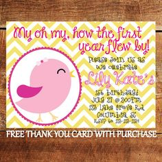 Bird 1st Birthday Invitation - First Birthday Party Invite with FREE Thank You Card on Etsy, $15.00