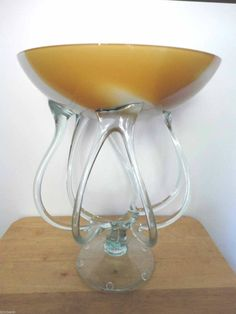 "Hand Blown 14"" Yellow/White Art Glass Footed Jellyfish Octopus Bowl Vase Compote on eBid United States"