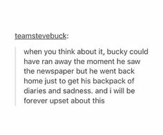 The Winter Solider would have left all that stuff behind. Bucky couldn't. To me that shows how much he's changed.