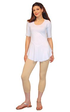 Slightly loose fitting top with a Y shaped waistline seaming at the front.�10 oz. Rayon Jersey / 94% Rayon