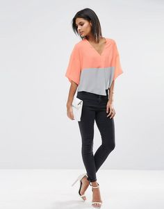 Image 4 of ASOS Colour Block Cropped Obi Blouse