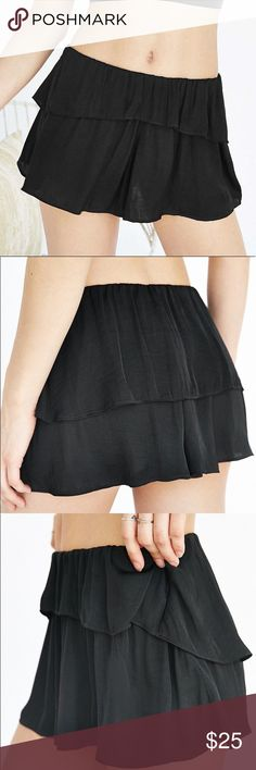 "CXM Flounce Shorts For Urban Outfitters Black outside and green inside very light weight. Length is about 11""  across the top flat is about 10"" but has elastic Urban Outfitters Shorts"