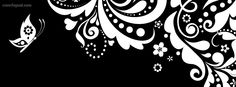 Black and White Butterfly Heart Swirls Facebook Cover CoverLayout.com