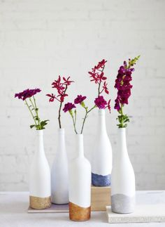 glitter dipped wine bottle vases - Decorate with Flowers