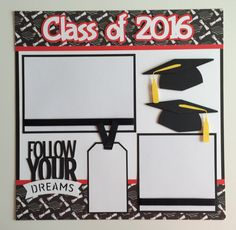 """Handmade Premade 12x12 """"Class of 2016"""" Graduation Scrapbook Page Layout by JuliesPaperCrafts on Etsy"""