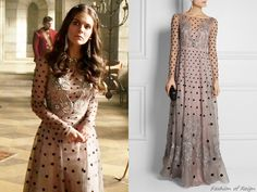 """In the episode 2x20 (""""Fugitive"""") Lady Kenna wears this Temperley LondonJosette Embellished Polka-Dot Silk-Blend Organza Gown ($4,420)."""