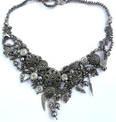 Gunmetal Beadwoven Statement Necklace/ w Toggle Bar Clasp