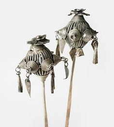 China | Hairpins from the Miao people of Shindong, Guizhou | Silver | 20th century