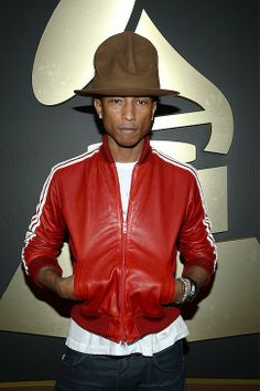 Mancrush Monday: Pharrell Williams's Hat at the Grammys | Going retro with the red Adidas Leather Jacket and we're going bananas for the tall brown hat!