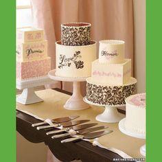 Calligraphy wedding cakes