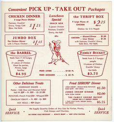 Kentucky Fried Chicken menu, 1971