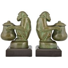 Pair of Art Deco Monkey Inkwell Bookends, Max Le Verrier, France | From a unique collection of antique and modern bookends at https://www.1stdibs.com/furniture/more-furniture-collectibles/bookends/