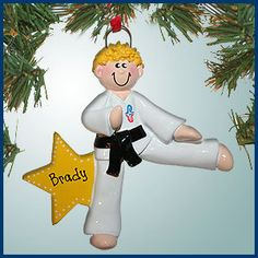 PersonalizedFree.com - Kicking Boy Karate with Blonde Hair Personalized Christmas Ornament, $12.99 (http://personalizedfree.com/kicking-boy-karate-with-blonde-hair/)