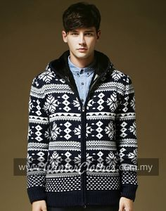 Men Extra Thick Fleece Lining Woolen Knitwear Winter Jacket