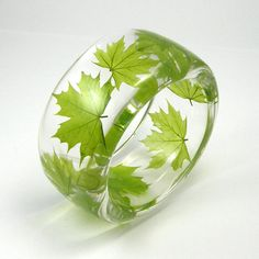 Resin Bangle  Green ECO Bracelet. Maple Leaf. size S/ made to