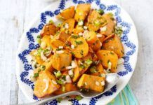 "Sweet potato salad ~ This simple healthy salad of baked potato chunks makes a great alternative to mayonnaise-based versions. ""I made this as a side on a BBQ night! EVERYONE loved it! Potato Salad Dill, Potato Salad Dressing, Potato Salad Mustard, Potato Salad With Egg, Salad Recipes Video, Bbc Good Food Recipes, Vegetarian Recipes, Cooking Recipes, Healthy Recipes"