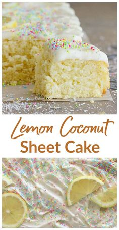 Lemon Coconut Sheet Cake The wonderful synergy of coconut and lemon in a spongy, flavorful and easy-to-make Sheet Cake. Covered with the much-loved lemon cream cheese frosting, it is a perfect everyday cake. Lemon Desserts, Lemon Recipes, Just Desserts, Baking Recipes, Lemon Cakes, Sheet Cake Recipes, Cupcake Recipes, Cupcake Cakes, Dessert Recipes