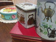Vintage tea caddies and cake tin