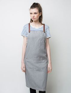 Cargo Crew - Henry Denim Bib Apron - Pebble - Online Uniform Shop Australia