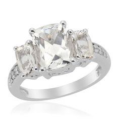 Liquidation Channel: Golconda Diamond Topaz Ring in Platinum Overlay Sterling Silver (Nickel Free)