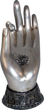Elegant symbol - the hand in many shapes and poses carries meanings around the world. A Buddha hand mudra is a gesture, each expressing a concept. This is cast resin in silver with antique highlights.
