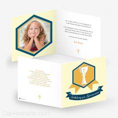 Kommunionskarte Heilige Kommunion 14.5 x 14.5 cm - Dankeskarte.com Cover, Frame, Communion, Thanks Card, Saints, Cards, Slipcovers, Frames