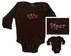 Get this Long Sleeve Onesie personalized with their initials and first name on the bum. So cute!