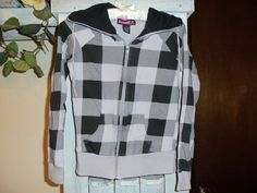 Girls Top Girls SAY WHAT CUTE JACKET Black and Grey Size M Long Sleeves  #SayWhat #Everyday
