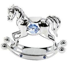 Chrome Plated Rocking Horse Ornament with Swarovski Elements | H.Samuel