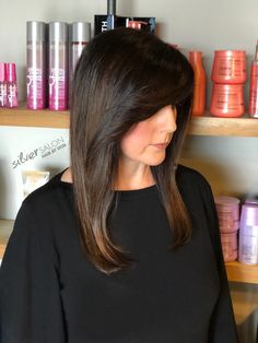 Subtle balayage and a side swept fringe on this beauty. Hair by Erin.