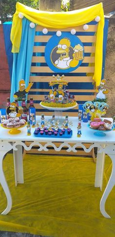 Bolo Simpsons, Simpsons Party, Birthday Party Decorations, Baby Shower Decorations, 21st Birthday, Birthday Parties, Duff Beer, Adult Party Themes, Donut Party