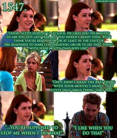 BtVS - I love how flustered she gets!!!!!  Totally something that would happen to me.  And the pouty way she reprimands him for not stopping her makes me crack up every time, even reading it!