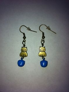 Brass cat charms and blue bell earrings #etsy, #MoggysMall, #cat, #earrings, #blue, # bell