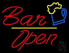 Red Bar Open Neon Sign 24 Tall x 31 Wide x 3 Deep, is 100% Handcrafted with Real Glass Tube Neon Sign. !!! Made in USA !!!  Colors on the sign are Yellow, Blue and Red. Red Bar Open Neon Sign is high impact, eye catching, real glass tube neon sign. This characteristic glow can attract customers like nothing else, virtually burning your identity into the minds of potential and future customers. Red Bar Open Neon Sign can be left on 24 hours a day, seven days a week, 365 days a year...
