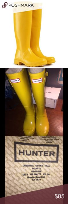 Hunter high gloss yellow wellies Size 7, but will fit a 7 1/2 - 8 shoe size Hunter Shoes Winter & Rain Boots