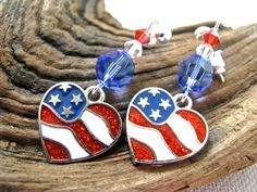 American Flag Heart Red, White, and Blue Crystal Long Dangly Fourth of July Earrings - pinned by pin4etsy.com