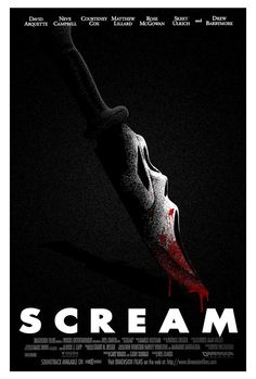 50 Must See Alternative Movie Posters By Designers Scream (R) Stars: Neve Campbell, Drew Barrymore, Courtney Cox, David Arquette Director: Wes Craven Writer: Kevin Williamson Story: A masked serial killer is striking at a small town in Ca Horror Movie Posters, Best Horror Movies, Best Movie Posters, Horror Icons, Movie Poster Art, Scary Movies, Great Movies, Fan Poster, Classic Horror Movies