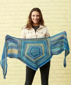 Yarnspirations is the spot to find countless free easy crochet patterns, including the Red Heart Classy Pentagon Shawl. Browse our large free collection of patterns & get crafting today! Crochet Shawls And Wraps, Crochet Scarves, Crochet Yarn, Crochet Clothes, Crochet Vests, Crochet Edgings, Crochet Shirt, Knitted Shawls, Crochet Motif