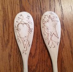 These lovely heart and star themed spoons will be a fanciful addition to any kitchen. This decorative wooden spoon is perfect for baking, cooking, serving, or simply as a lovely decoration. The cheery picture was carefully designed by me and then wood burned from my hand-transferred