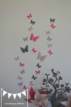 DISPO – 25 Butterfly Stickers – pink powdery gray and fuchsia – decoration room child baby girl – room decoration by peggiulian Ikea Nursery, Girl Nursery, Girl Room, Baby Room, Coral Girls Rooms, Ikea Deco, Radiator Cover, Home Interior, Decoration