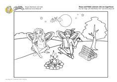 Ausmalbild für Kinder: Shaya und Habù wärmen sich am Lagerfeuer.
