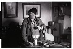 Archie Parkhouse having a cup of tea after coming in from the snow by James Ravilious © Beaford Arts, 1978