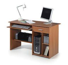 Esc Computer Shelf, Computer Desk Design, Computer Desks For Home, Home Desk, Office Furniture, Office Desk, Wooden Desk, Filing Cabinet, Shelves